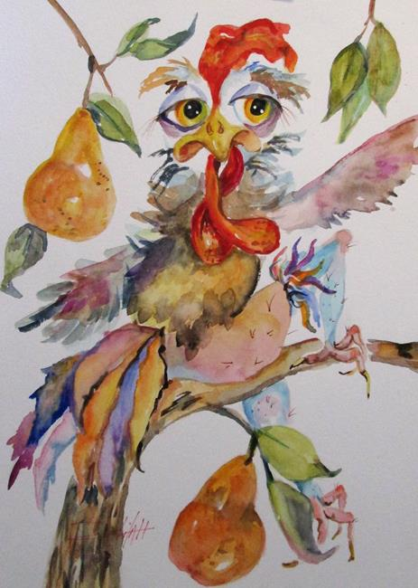 Art: A Rooster in a Pear Tree by Artist Delilah Smith