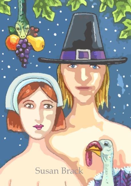 Art: ADAM AND EVE THANKSGIVING by Artist Susan Brack