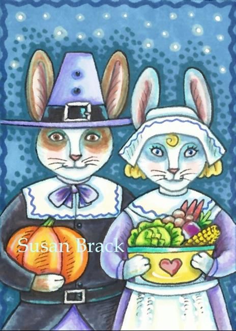Art: PAIR OF PILGRIM HARES by Artist Susan Brack