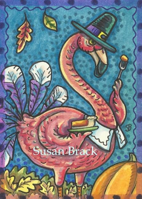 Art: PUMPKIN PIE AND TURKEY FEATHERS by Artist Susan Brack