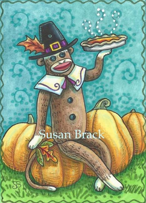 Art: SOCK MONKEY THANKSGIVING by Artist Susan Brack