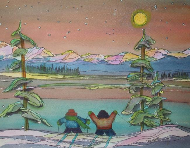 Art: Ski Buddies by Artist Kathy Crawshay