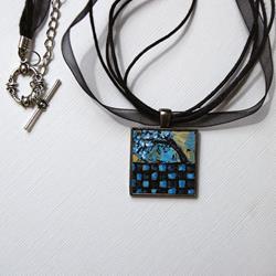 Art: Blue & Black Checker Tree ~ Wearable Art by Artist Dana Marie