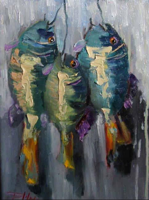 Art: Fish on a Hook No.5 by Artist Delilah Smith