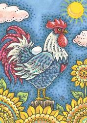 Art: ROOSTER N' SUNFLOWERS by Artist Susan Brack