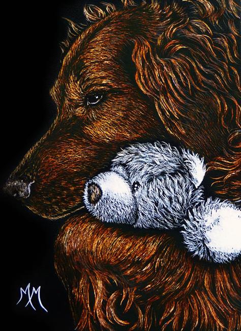 Art: Teddy Bear Comfort  (SOLD) by Artist Monique Morin Matson