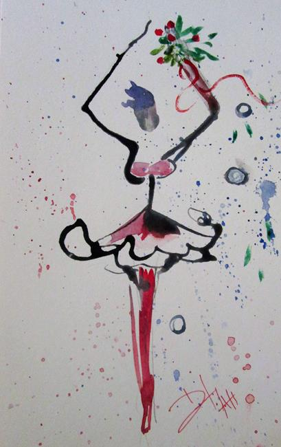 Art: Christmas Ballerina sold by Artist Delilah Smith