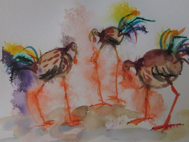 Art: Turkeys by Artist Delilah Smith