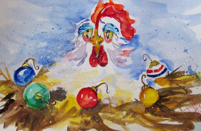 Art: Christmas Hen by Artist Delilah Smith