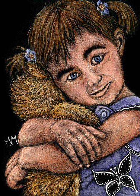 Art: Teddy Bear Hugs  (SOLD) by Artist Monique Morin Matson