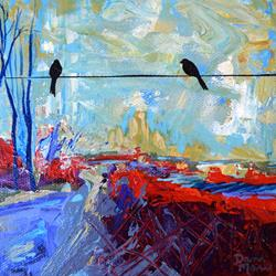 Art: The Road Less Traveled - Diptych Painting 2 by Artist Dana Marie