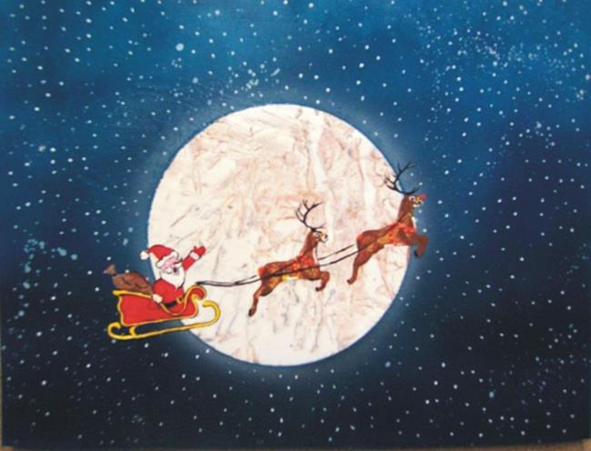 Art: Santa and Reindeer by Artist Leonard G. Collins