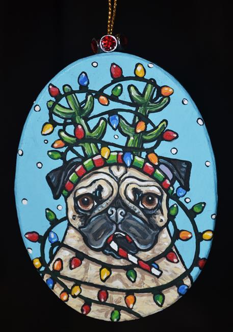 Art: Christmas Reindeer Pug 2017 by Artist Melinda Dalke