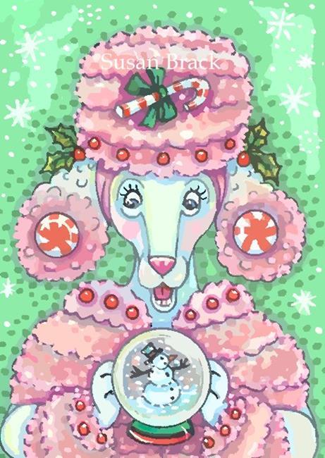 Art: PEPPERMINT PINK POODLE by Artist Susan Brack