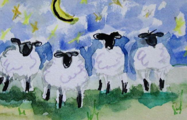 Art: Moon Light Sheep by Artist Delilah Smith