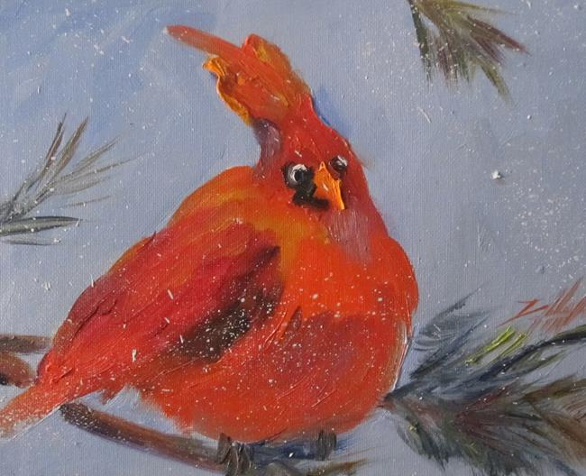 Art: Chubby Cardinal by Artist Delilah Smith