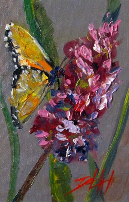 Art: Butterfly and Flower by Artist Delilah Smith