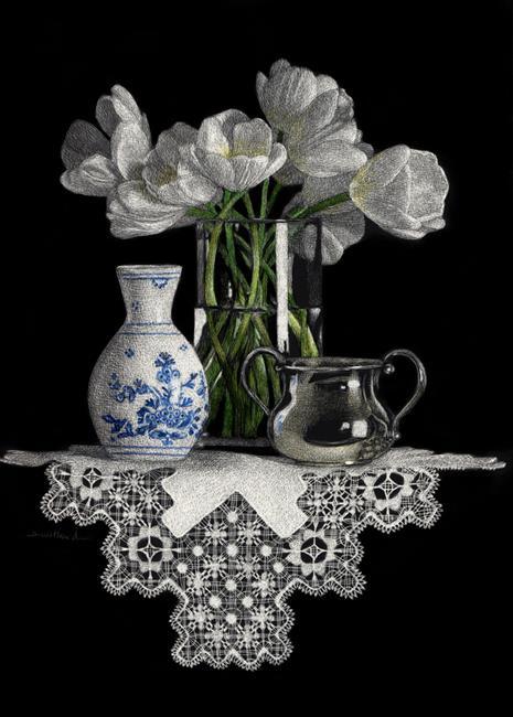 Art: Delft and Tulips by Artist Sandra Willard