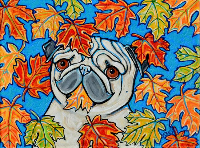 Art: Autumn Pug by Artist Melinda Dalke