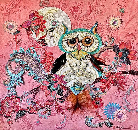 Art: owl in pink org lr by Artist Alma Lee