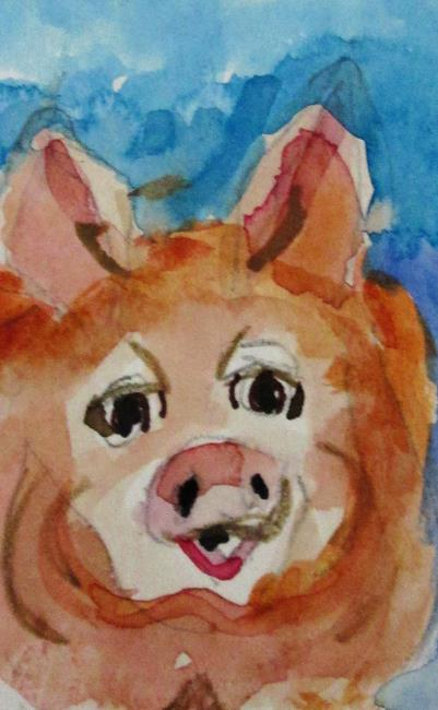Art: Pig Aceo by Artist Delilah Smith