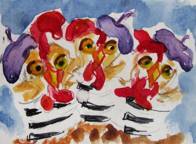 Art: Three French Hens No. 5 by Artist Delilah Smith