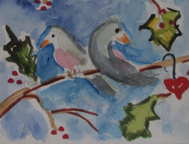 Art: Two Turtle Doves No.2-sold by Artist Delilah Smith