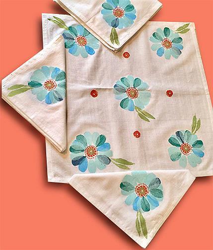 Art: Blue Blossom Napkin Set by Artist Alma Lee