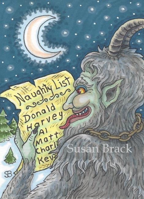 Art: NAUGHTY LIST Christmas Krampus by Artist Susan Brack