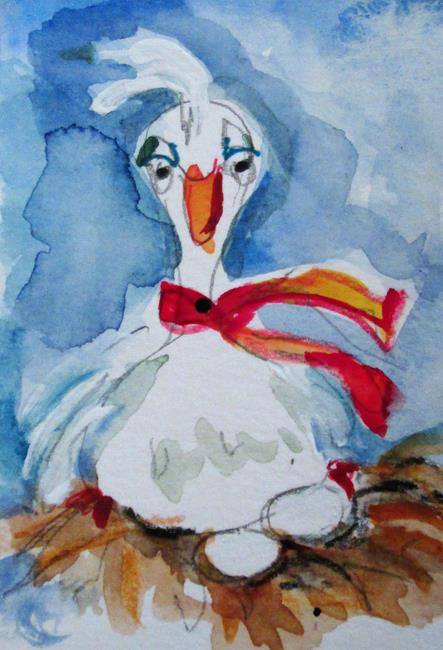 Art: Six Geese A laying No.2 by Artist Delilah Smith