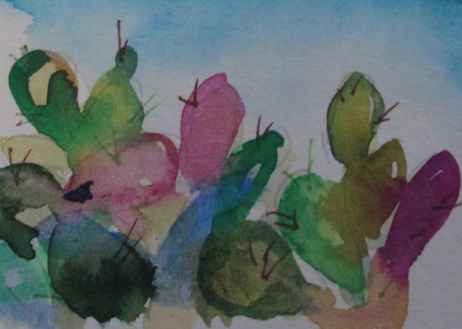 Art: Aceo Cactus No.6 by Artist Delilah Smith