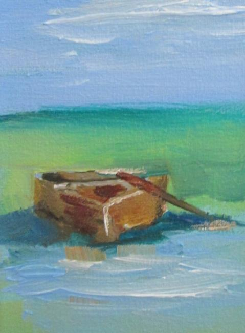 Art: Row Boat aceo by Artist Delilah Smith