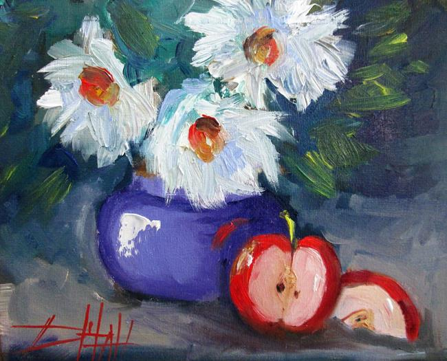 Art: Apples and Flowers by Artist Delilah Smith