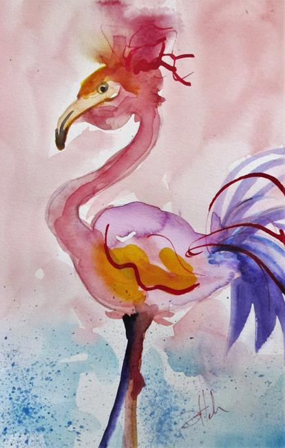 Art: Purple Tail Flamingo by Artist Delilah Smith