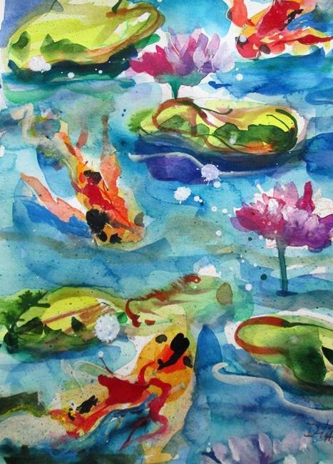 Art: Lily Pond and Koi by Artist Delilah Smith