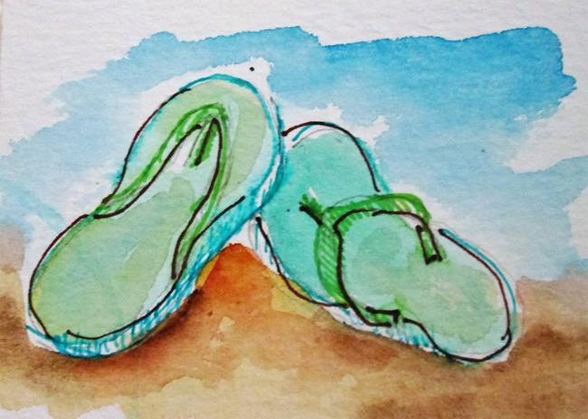 Art: Green Flip Flops by Artist Delilah Smith