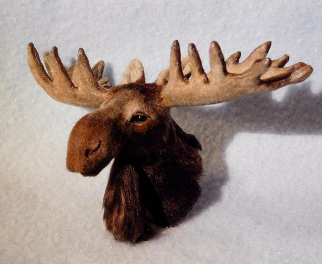 Art: Moose Head (Bust) Mount, Bullwinkle by Artist Camille Meeker Turner