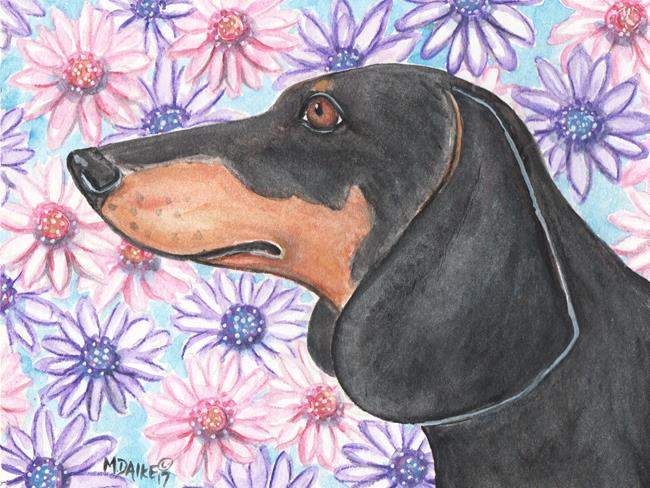 Art: Dachshund and Daisies by Artist Melinda Dalke