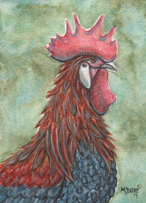 Art: Rooster Impression 1 by Artist Melinda Dalke
