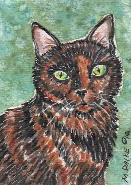 Art: Tortie in Watercolors by Artist Melinda Dalke