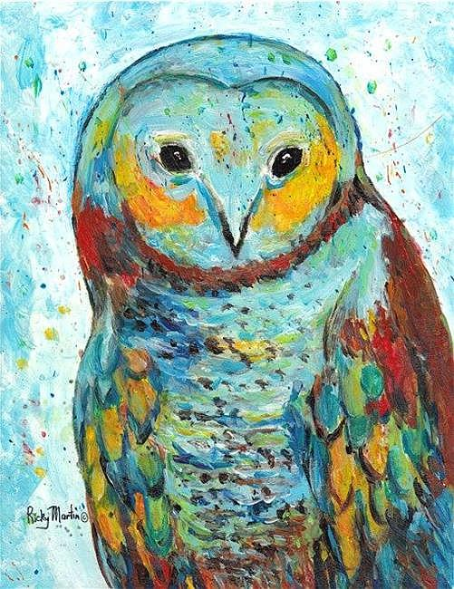 Art: Abstract Owl - sold by Artist Ulrike 'Ricky' Martin