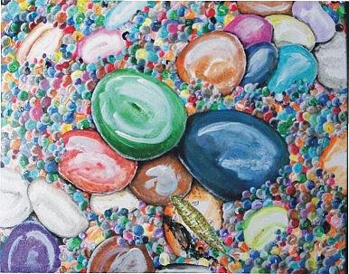 Art: Trout on River Rocks by Artist Leonard G. Collins