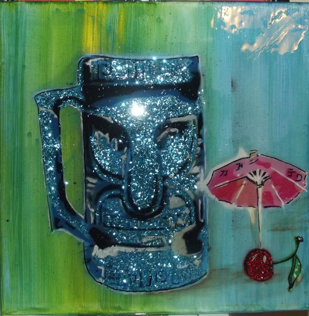 Art: Graffiti Tiki Cup with Sparkle by Artist Paul Lake, Lucky Studios