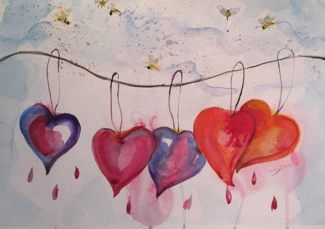 Art: Hanging Hearts Out to Dry by Artist Delilah Smith