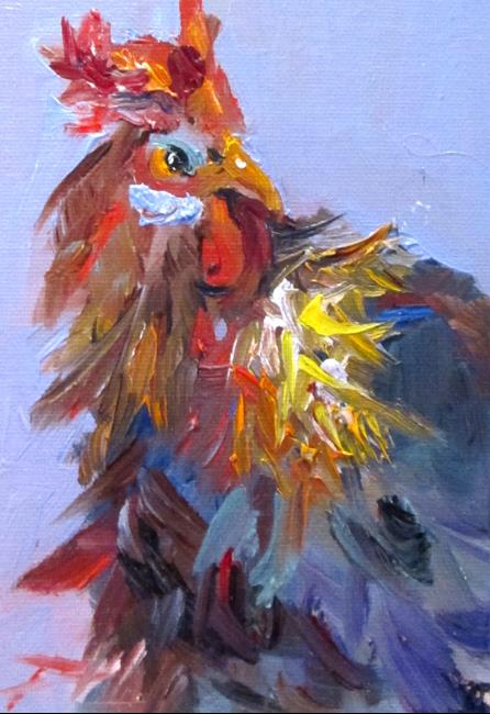 Art: Rooster Portrait by Artist Delilah Smith
