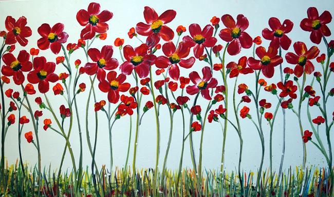 Art: Red Daisy Flowers by Artist LUIZA VIZOLI