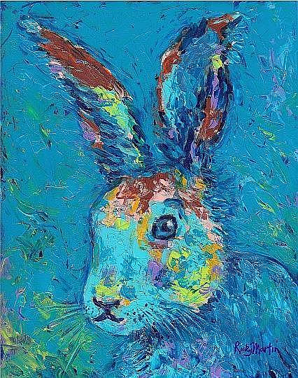 Art: Funny Bunny Blue - sold by Artist Ulrike 'Ricky' Martin