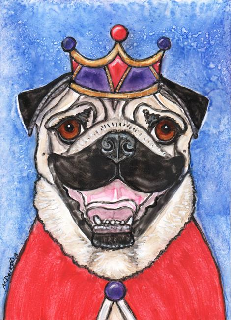 Art: King Pug with Crown and Cloak by Artist Melinda Dalke