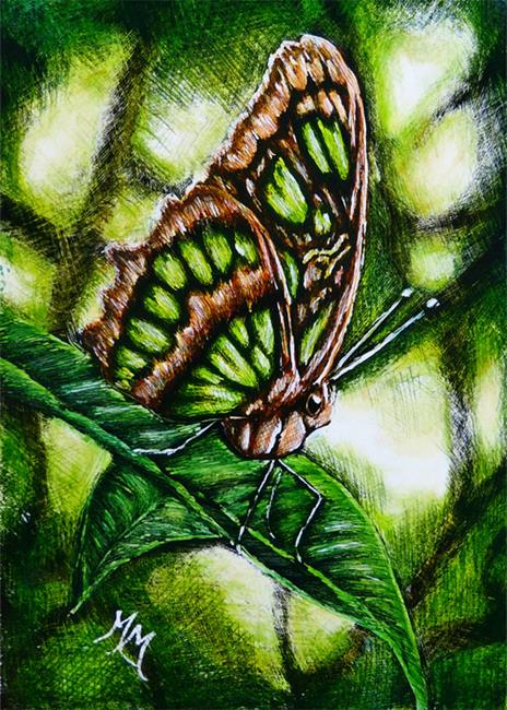 Art: Green Butterfly  (SOLD) by Artist Monique Morin Matson