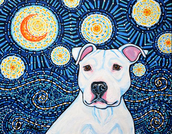 Art: Starry Night White Pit Bull Terrier by Artist Melinda Dalke